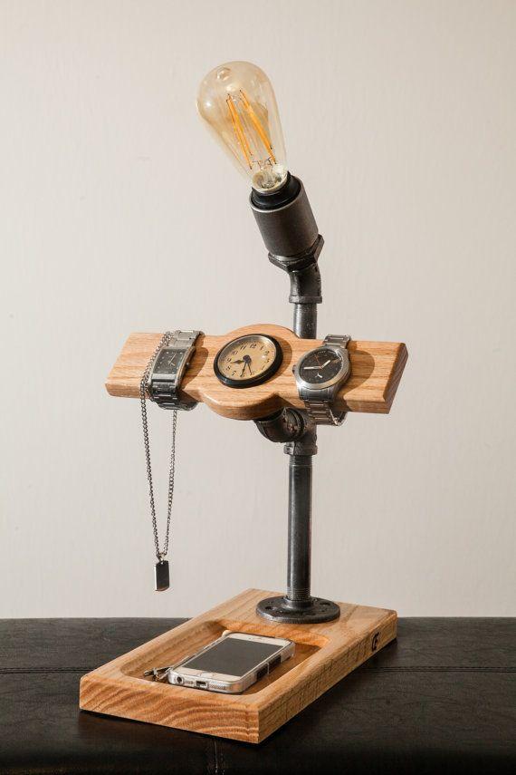 Medium Wooden Touch Lamp. Oak. Black Pipe. Watch/Jewelry