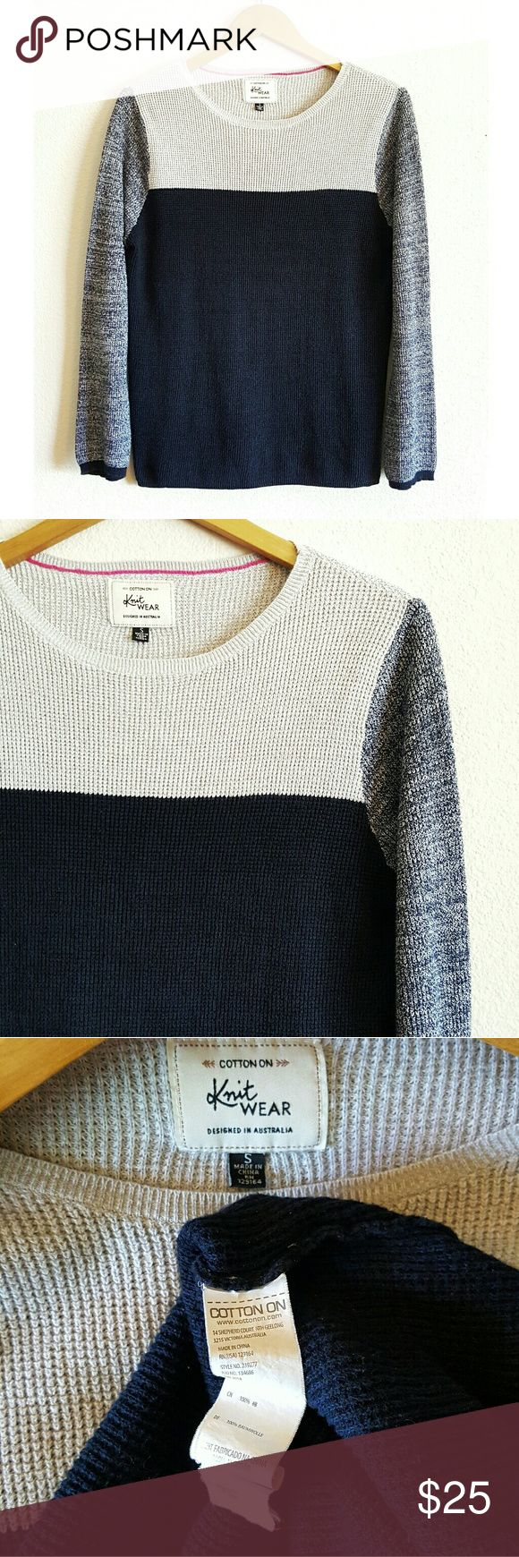 Cotton On knitwear contrast marled sweater Cotton On Knitwear contrast marled knit long sleeve sweater in navy, gray, and marled blue. - size small - 100% cotton Cotton On Sweaters