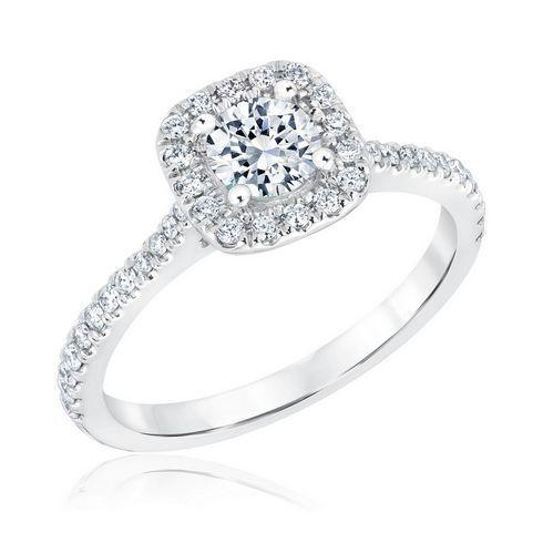 REEDS Signature Round Diamond Cushion Halo Engagement Ring 7/8ctw - Item 19535780 | REEDS Jewelers