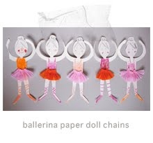 ballerina doll chain via mermag. Love the mix of paper, coloring, and using scraps to decorate.