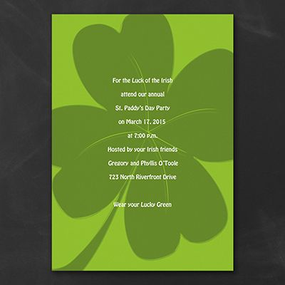 Irish shamrock invitations for your St. Patricks day party! http://partyblock.carlsoncraft.com/Parties--Celebrations/Theme-Parties/2872-EKH42CCO-Lucky-Clover-Celebration--Invitation.pro