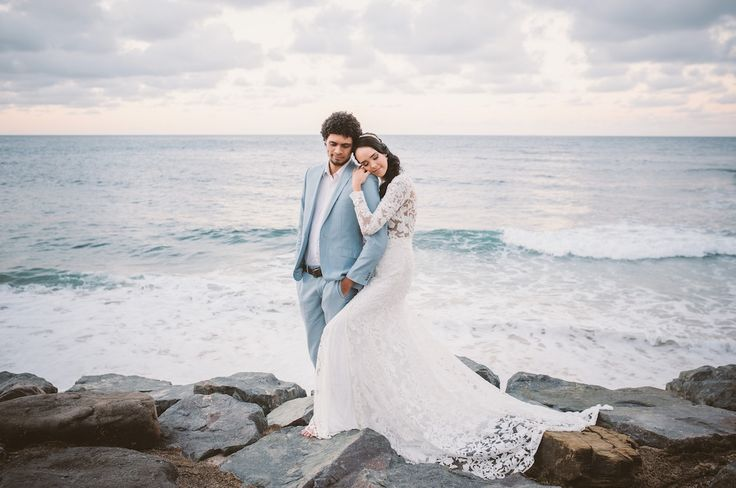 Beach Bridal Gown by When Freddie met Lilly. Love lace long sleeve dress Brisbane designer. www.whenfreddiemetlilly.com.au