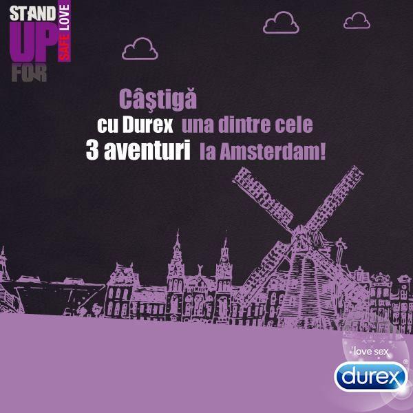 #SafeLove, fun si o excursie la Amsterdam! Cumpara orice produs Durex, inscrie bonul fiscal in aplicatie si fii castigatorul unei aventuri in cea mai sigura destinatie pentru distractie! Esti IN?