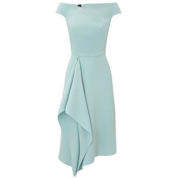 Roland Mouret Barwick Dress ($2,165) ❤ liked on Polyvore featuring dresses, gold, midi, green midi dress, polish dress, midi day dresses, waterfall dress and wet look dress