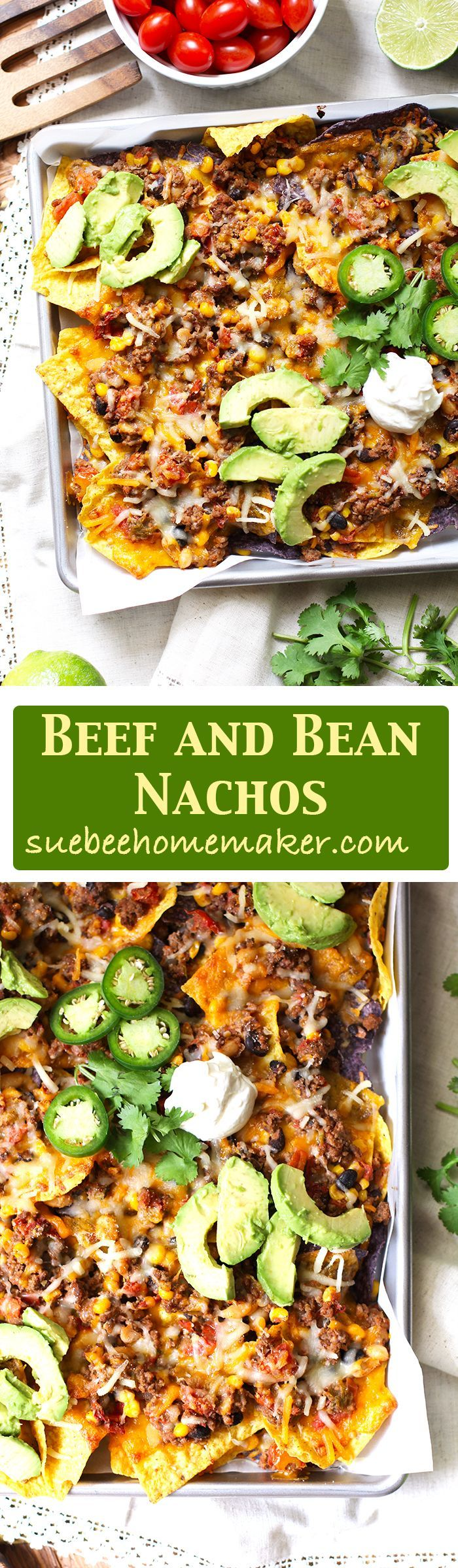 Beef and Bean Nachos are a perfect party food that everyone will love. Bake for just 15 minutes, top with your favorite condiments, and dig in.