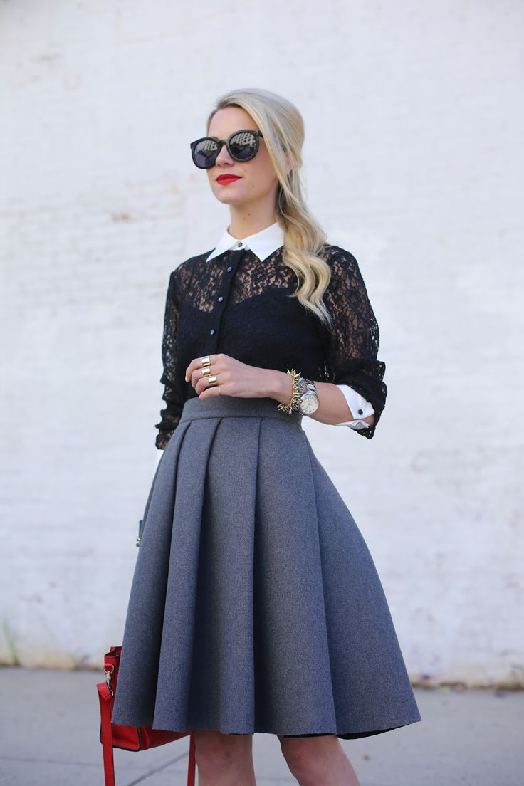 How to make a gorgeous lace blouse and a gorgeous midi skirt HOT!? Add a dash of red.