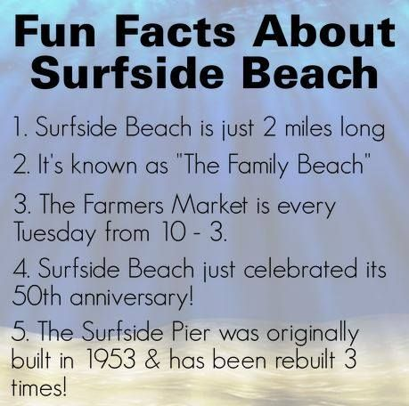 Fun facts about Surfside Beach, SC, but best of all is the fact that our daughter's salon, Ocean's Edge, is right there on Surfside Drive.  Stop in to see Courtney!
