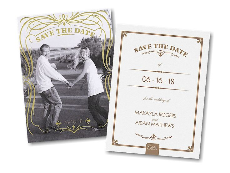 glam frame photo save the date card