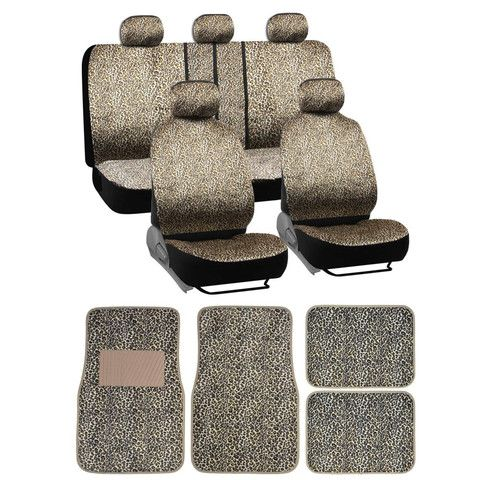 BDK Quality Pro Safari Seat Covers Floor Mats Cheetah Print Full Set