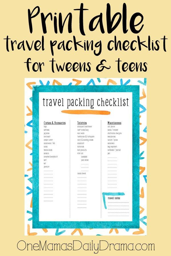 Printable travel packing checklist for tweens \ teens Travel - vacation checklist