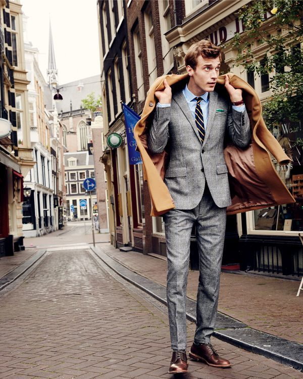 J.Crew men's Ludlow topcoat, Ludlow suit jacket in Italian glen plaid, Ludlow shirt in mountain stream stripe, Ludlow suit pant in Italian glen plaid, English silk repp tie in thin stripe and Alden® oxford shoes. - mens clothing outlet, online mens clothing stores, mens casual clothing online