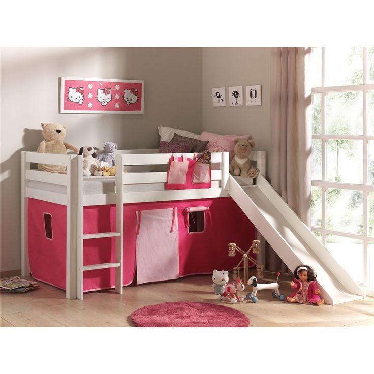 Astrid halfhoogslaper met glijbaan den wit tent roze wit hart - Bed kamer mezzanine ...