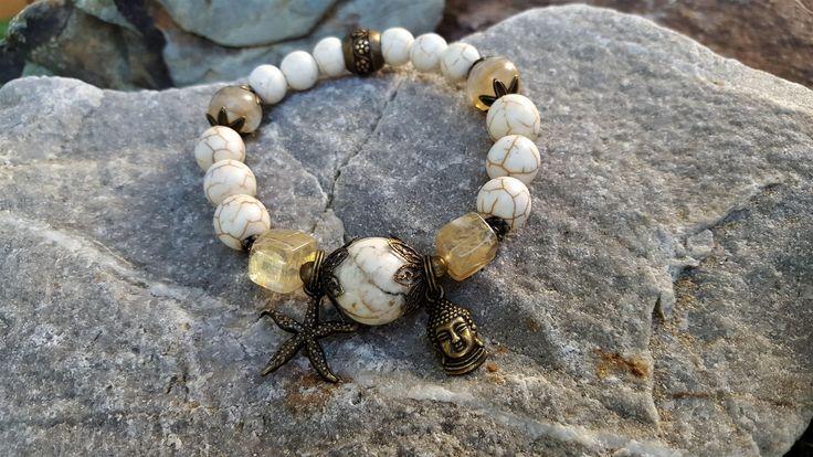 Boho style, stretch gemstone bracelet. Jasper, marble and quartz with antique bronze Buddha and starfish charm. Bohemian Yoga Jewellery Gift