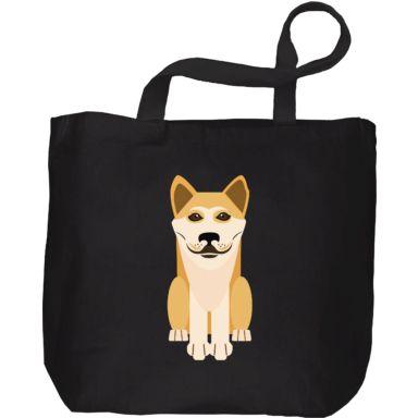 Bolsa de tela negra de perro akita/shiba inu version flat. Disponible en Camaloon
