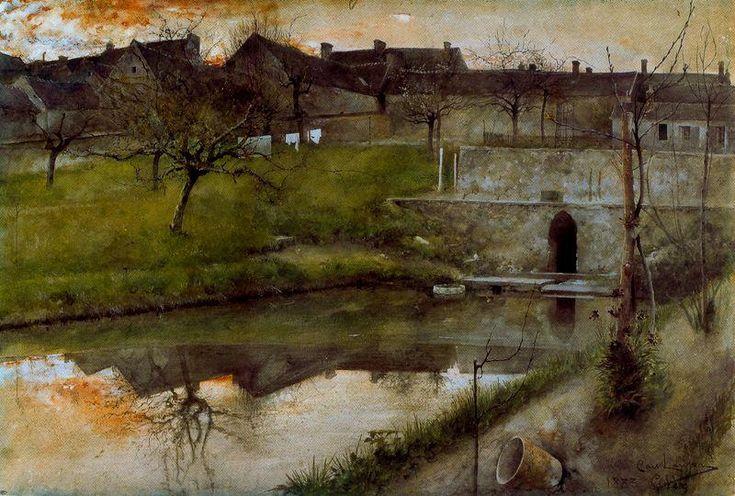"""""""Grez-sur-Loing's Reservoir"""" by Carl Larrson"""
