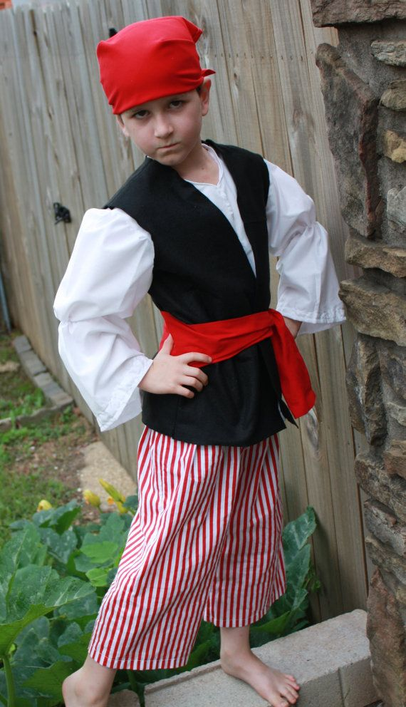 Sizes 2T to 6 Pirate Costume Outfit Boys or by MessyJessyCreations, $30.00
