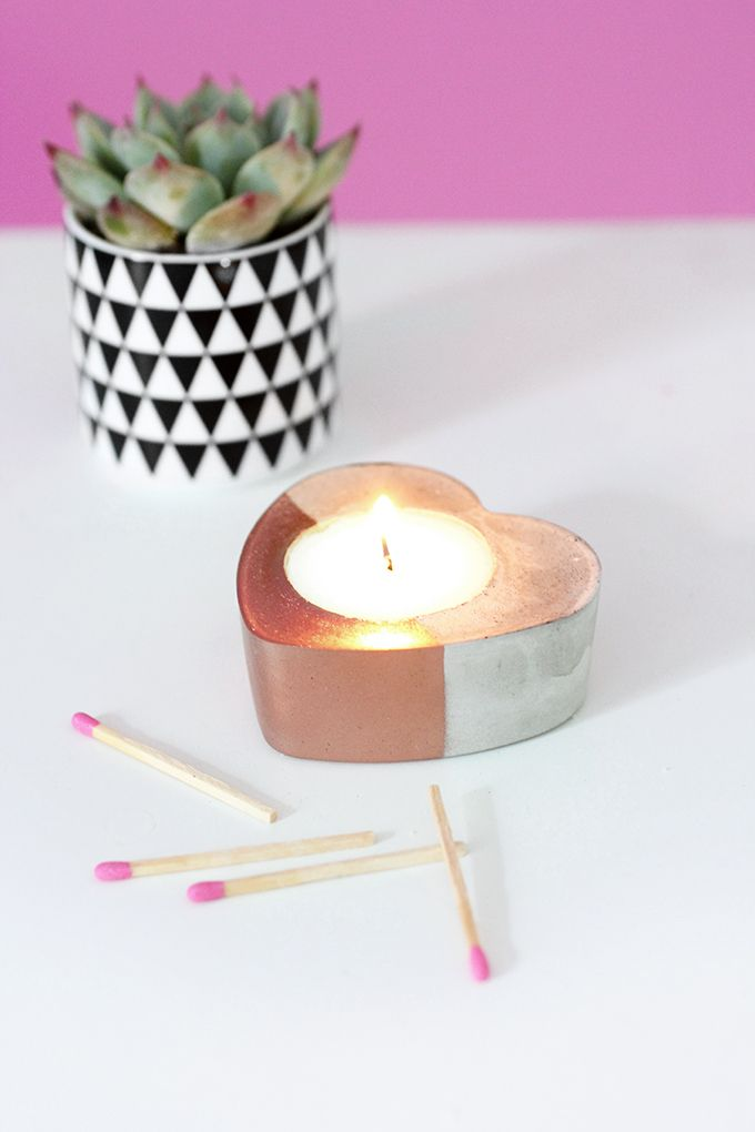 » MY DIY | Concrete Copper Heart Candles