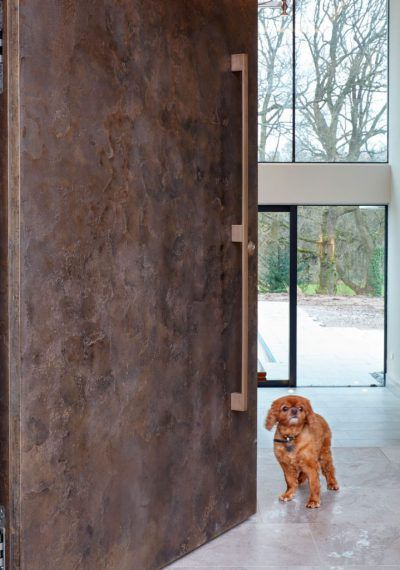 Oversized bronze door by Urban Front. Copper dog not supplied!