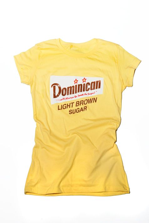 T-shirt; Dominican Women have much pride for their country and heritage. I designed this tee with that in mind and added a little fun to representing your home land with this remixed Domino Sugar logo representing Dominican Republic.  All t-shirts are screen printed by hand using soft to the touch inks.   100% Ring spun Cotton . Super soft with a slight stretch for a perfect fit. Longer length, slightly scooped neck, fashionably shorter sleeves.