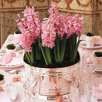 I love this idea! I much rather invest in plants that guests can take home, than in flowers that unfortunately will start looking sad by the next day. Plus, if we place them in something as beautiful and elegant as these silver-plate tubs, it can be a real statement piece. (the flowers in this picture are Hyacinths, Netherlands)