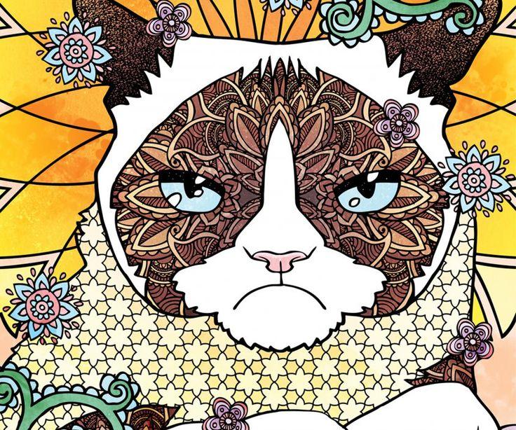 Un gato amargado para colorear  El dibujante uruguayo Diego Jourdan forma parte del fenómeno de Grumpy Cat