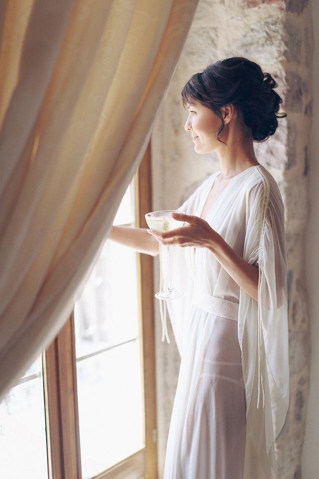 Getting ready robe | Sonya Khegay | see more on: http://burnettsboards.com/2015/03/delicate-bridal-boudoir/