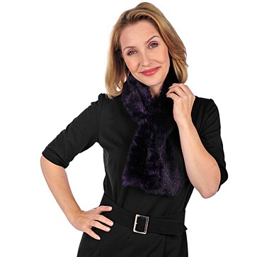 Spice up your wardrobe with this fun faux fur scarf with two inside elastic bands from the Cojo Collection.