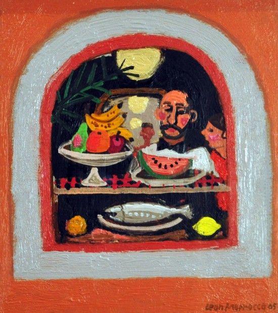 Leon Morrocco RSA RGI Restaurant Window, Rome Oils   Scottish Contemporary Art