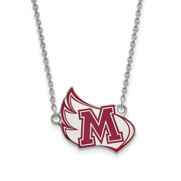 Sterling Silver LogoArt Meredith College Enamel Pendant with Necklace