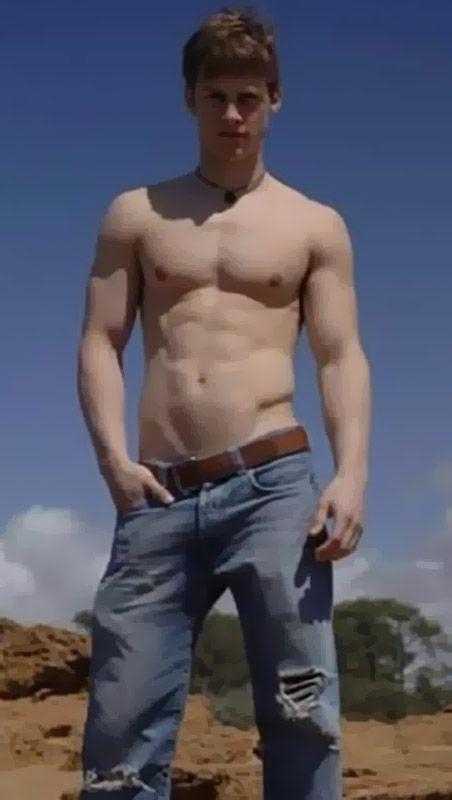 Shirtless college boy