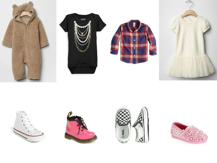 Holiday Gift Guide: For Baby. Gap one piece #baby     #gift Sara Kety bodysuit #infant #cute J.Crew shirt #plaid     #flannel Gap dress #ballet #girly Converse sneakers #hightop #classic Dr. Martens boots #fallfashion Vans sneakers #checkerboard #slipon TOMS slipon #pink     #crochet