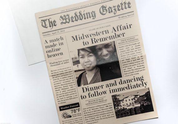The Louise Wedding Gazette Newspaper Invitation