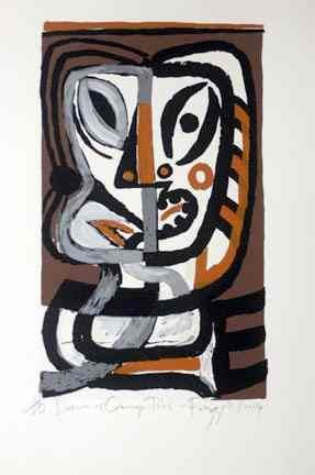 """Brown  Orange Tiki"" by Dick Frizzell. Edition of 80. 50 x 35 cm. Available for purchase, check it out at www.smythgalleries.co.nz"