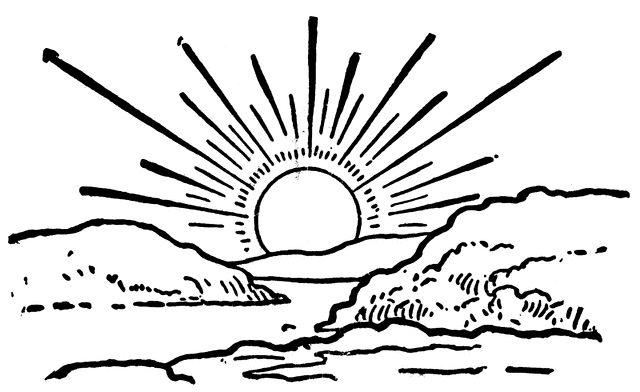 Line Drawing Sunrise : Black and white sun clip art sunrise clipart etc