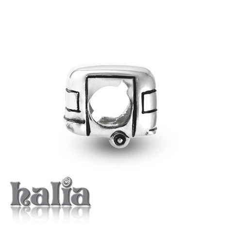 Vintage Road Trip: Vintage camping trailer bead: designed exclusively by Halia™, this bead fits other popular bead-style charm bracelets as well.  Sterling silver, hypo-allergenic and nickel free.   $35.00