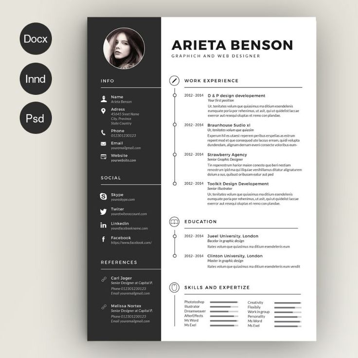 17 parasta ideaa Resume Templates Word Pinterestissä - free creative resume templates