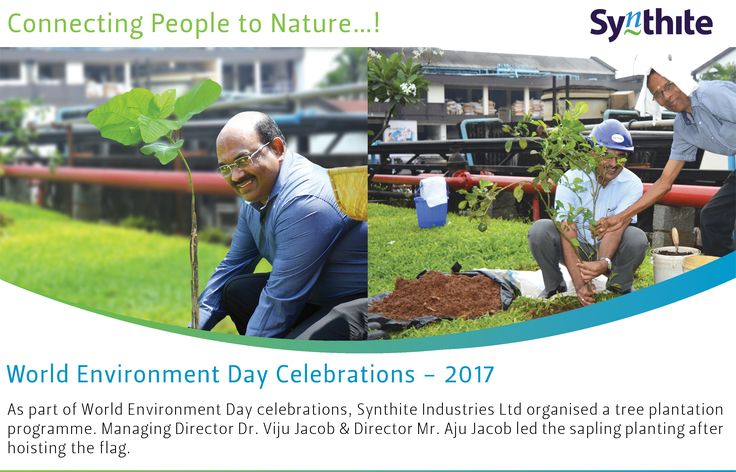 As part of World Environment Day celebrations, Synthite Industries Ltd organised a tree plantation programme. Managing Director Dr. Viju Jacob & Director Mr. Aju Jacob led the sapling planting after hoisting the flag.  #WorldEnvironmentDay #ConnectingPeopleToNature #synthite #spice #oleoresin