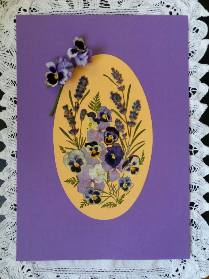 Pansies and Lavender bouquet - pressed flower picture for my friend