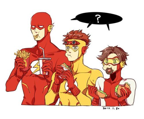 Speedsters. The Flash, Kid Flash, and Impulse.