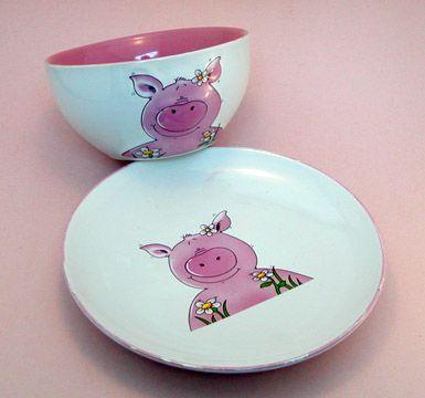 Piggy Bowl u0026 Plate Set ~ * M Y * P I G G Y * C O L L E C T I O N * & 73 best Piggy Tableware ~ Bowl / Dish / Plate images on Pinterest ...