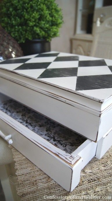 Plain Old Box gets a Harlequin Twist (& a How-to!) - lovely jewelry box makeover - love the multi patterns