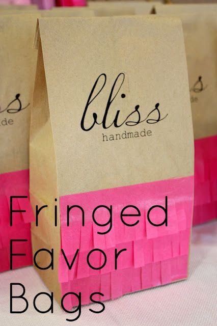 DIY fringed favor bags
