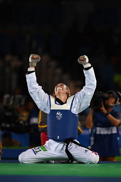 Jade Jones of Great Britain celebrates after defeating Eva Calvo Gomez of Spain…