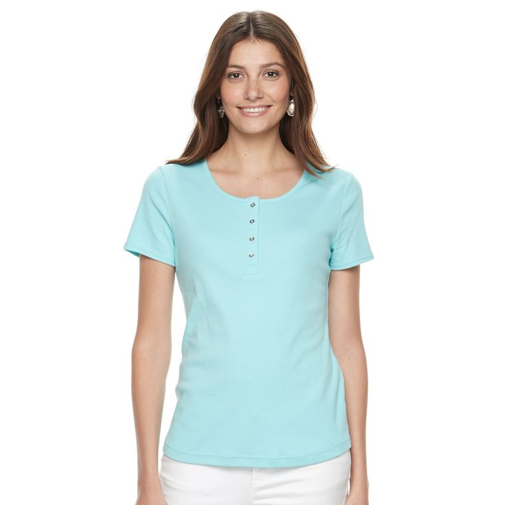 Women's Croft & Barrow® Henley Tee, Size: Medium, Turquoise/Blue (Turq/Aqua)