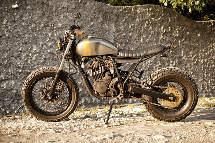 ZUI Tracker Yamaha Scorpio 225 cc  Perfect to cruise around the island of Bali and to have endless rides on the beach. A unique concept mixed between a jap style and a beach tracker.  http://vervemoto.com/bikes/zui-tracker/