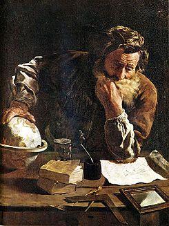 Arquímedes pensativo. Óleo sobre tela del pintor Domenico Fetti (1620). Gemäldegalerie Alte Meister, Dresde.