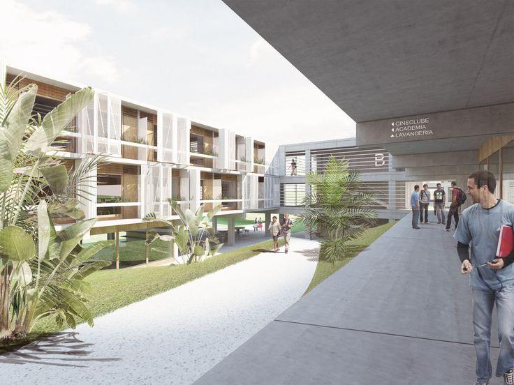 Galeria - Proposta finalista do concurso para a Moradia Estudantil da Unifesp São José dos Campos / Atelier Rua + Rede Arquitetos - 1