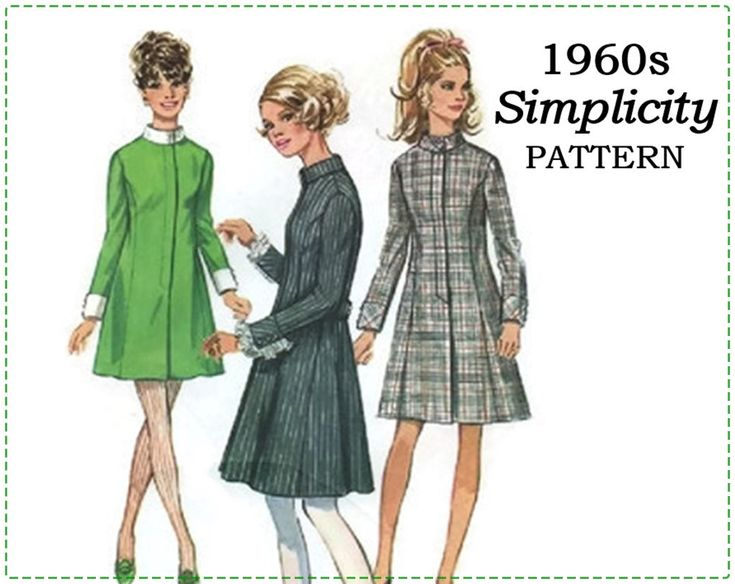 1960s Sewing Pattern - Simplicity 7847 - Misses Mod Dress - Size 12, Bust 34 - UNCUT - Princess Dress, A-line, Stand Up Collar, Cuffs, Belt by EightMileVintageSews on Etsy