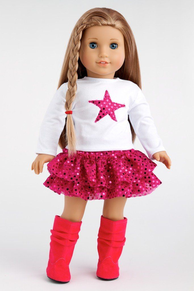 Pink Star - White Blouse with Pink Star, Pink Sequin Ruffle Skirt and Hot Pink Boots - 18 Inch American Girl Doll Clothes