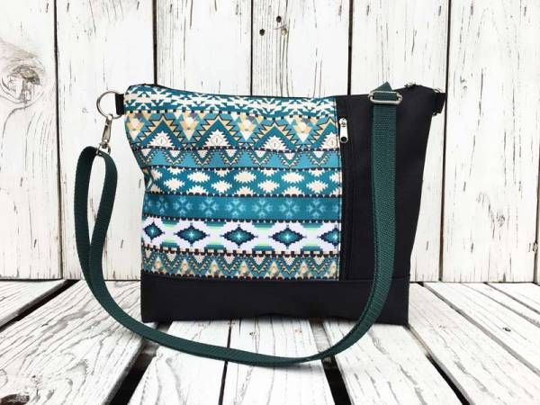 Handmade Canvas Crossbody and Belt Bag - Waterproof Blue aztec Design